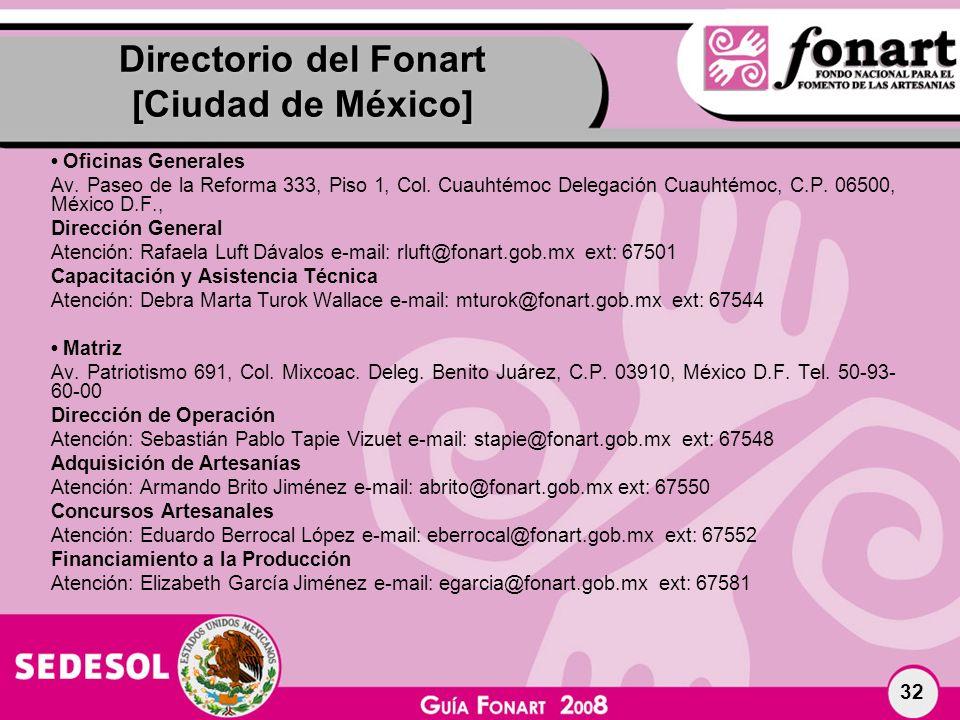Directorio del Fonart [Ciudad de México]